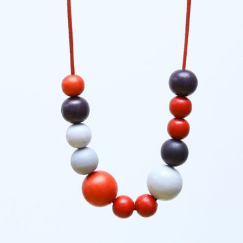 Red grey purple wood necklace, red color block, large bead necklace fashion, red abstract necklace
