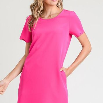 Scalloped Shift Dress - Fuchsia
