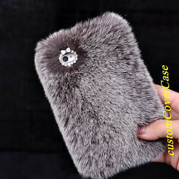 Sale Gray Furry iPhone Cases, rabbit iphone 5 case iPhone 5s Case cheap Galaxy S3 Case Samsung Note 3 fur Case, fur HTC one case, iPhone5c