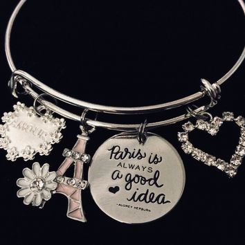 Paris is Always a Good Idea Adjustable Charm Bracelet Silver Expandable Bangle Amour Eiffel Tower Audrey Hepburn Jewelry One Size Fits All Gift