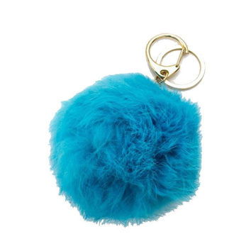 Teal & Gold Rabbit Fur Pom Pom Key Chain / Bag Charm Key chain, gift