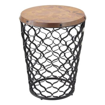 Arabesque Small Round Accent Table with Antique Copper Top by Global Views