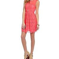 GB Eyelash Lace Dress - Neon Pink