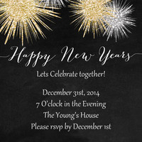 New Years Invitation - Printable Invitation - Happy New Years - Chalkboard invitation - Glitter - Digital invites - Printable Invites