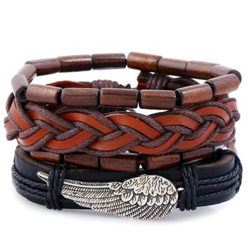 Stylish Shiny Hot Sale Great Deal Gift Awesome New Arrival Vintage Simple Design Leather Men Set Bracelet [250988494877]