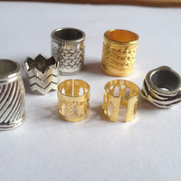 Free Shipping 55Pcs/Lot Dreadlock Bead mix, Golden plated, Tibetan silver dangle braid bread dreadlock beads cuff clip