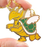 Super Mario Themed Koopa Troopa Turtle With Wings Pendant Necklace | Limited Edition
