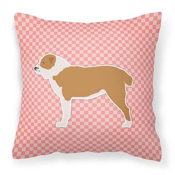 Central Asian Shepherd Dog Checkerboard Pink Fabric Decorative Pillow BB3628PW1818