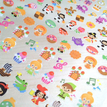 mini Fairy tale collection cute version fairy cartoon story stickers vintage story icon sticker little red riding hood peter pan tinkerbell