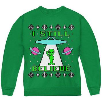 ESBGQ9 Alien I Still Believe Ugly Christmas Sweater Youth Sweatshirt