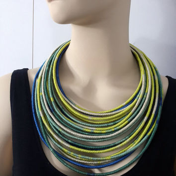 Tribal Statement Necklace/Big bold chunky necklace/Edgy necklace/Extra large Necklace/Oversize necklace/Yellow Necklace/Eccentric necklace