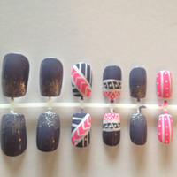 Pink and Gray Tribal Print, False, Artificial, Acrylic Nails