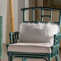Thro by Marlo Lorenz Bright White Fur Throw Pillow