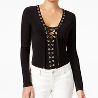 GUESS Gloria Grommet Lace-Up Bodysuit - GUESS? - Women - Macy's