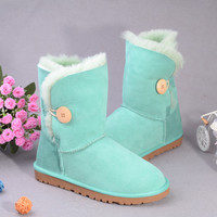 Aussie sheep fur snow boots Aqua buttons in tube flat sole