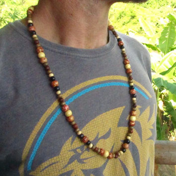 Men's 28 Inch Long Wooden Beaded Necklace / Surfer Hippie Boho Hipster Ethnic Mala Meditation Style Necklace / Men's Jewellry