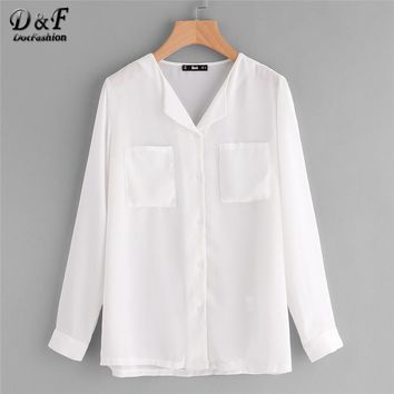 Revere Collar Pocket Front Chiffon Blouse White V Neck Tunic Top Woman Long Sleeve Button Equipment Blouse