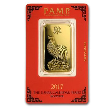 1 oz Gold Bar - PAMP Suisse Year of the Rooster (In Assay)