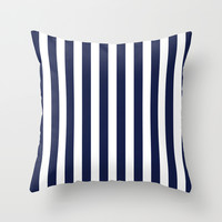 Stripe Vertical Navy Blue Throw Pillow by Beautiful Homes