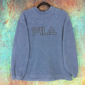 90s Fila Crewneck Fleece Pullover Embroidered Logo Sweatshirt Jumper Athletic Vintage 1990's Men's Hip Hop Pull Over Sports Streetwear