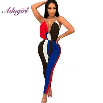Adogirl Color Block Rompers Women Deep-V-Neck Jumpsuit Strap Slim Long Pants Woman Bodysuit Body Mujer Spaghetti Strap Overalls