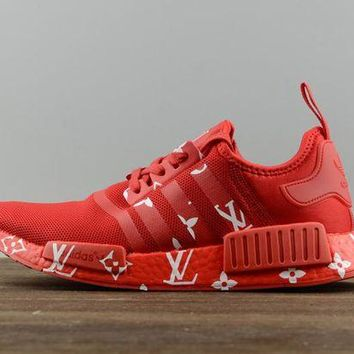 Adidas NMD X LV Louis Vuitton Fashion Print Women Men Casual Running Sports Shoes Sneakers Pure Red I
