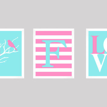 Love Birds, Baby Gift, Nursery Decor, Monogram Print, Baby Girl, Modern Nursery, Baby Girl Decor, Nursery Print,  CUSTOMIZE your COLORS