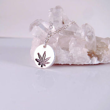 Sterling Silver Cannabis Leaf Necklace-Dope Jewelry-Marijuana Leaf Necklace-Weed Necklace-Weed Jewelry-420 Necklace-420 Jewelry-Stoner Gift