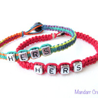 Hers and Hers, Bracelets for Couples, Rainbow and Red, Handmade Hemp Jewelry, LGBTQ Accessory