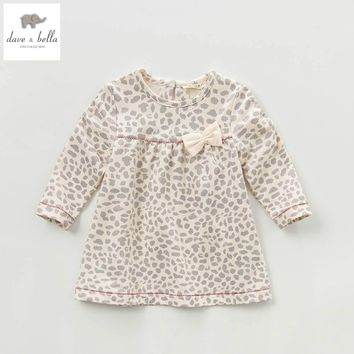 DB3705 davebella spring baby girl vintage style princess dress baby retro dress kids birthday clothes girls leopard dress