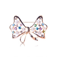 Popular Cute Big Bow Down Collar Flower Brooch Full Pearls Exquisite pearl inlay Girl Accessories XZ00211