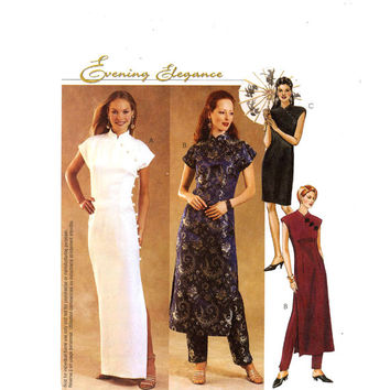 Cheongsam bridesmaid wedding dress pants McCalls 3008 sewing pattern Out of print dress pattern Sz 6 to 10 Uncut