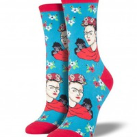 Socksmith Women's Novelty Crew - Kahlo Portrait - Cotton/Lycra Blend