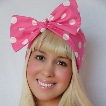 Bow hair tie Hot Pink bow pin up bow rockabilly bow head scarf bow retro headband bandana minnie mouse vintage inspired halloween costume