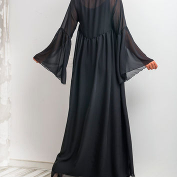 NEW SS16 Black Maxi Dress, Chiffon dress, Abaya, Caftan, Plus size dress, Plus size clothing, Spring Summer dress, Long dress