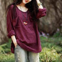 Long Sleeve Linen Cotton Linen Blouse [22465511450]