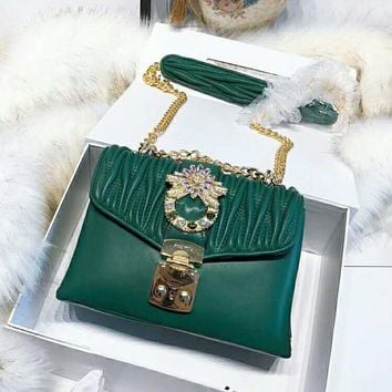 Miu Miu High Quality Women New Fashion Diamond Leather Shoulder Bag Crossbody Green