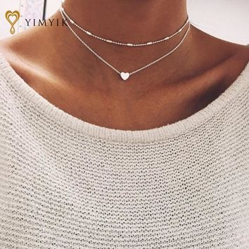 Double Horn Pendant Heart Necklace Gold Dot Necklace Women Phase Heart Necklace  Drop shipping