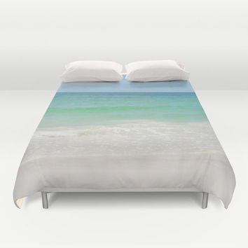 Beach Anna Maria 2 - Duvet Cover, Pastel Ocean Surf Seascape Decor, Blue & Green Coastal Bedding Throw Cover in Twin Full Queen King Size