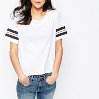 Vero Moda | Vero Moda Boxy T-Shirt With Striped Sleeve at ASOS