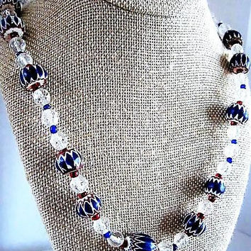 Red Blue Necklace, Glass Beads, Red Crystal Blue, Red Blue Spacers,  Patriotic Beads, 10mm Round, 22 Inch Necklace