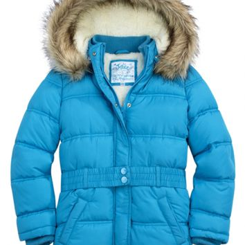 Belted Puffer Coat With Faux Fur Hood   Girls Cold Weather Gear Hot Shops   Shop Justice