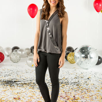 Sequin overlap tank top-more colors