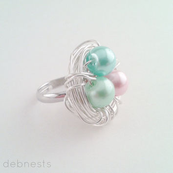 Birthstone Bird Nest Ring, Mother's Day, Glass Beads in Your Choice of Birthstone Colors, Adjustable Band