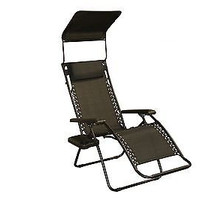 Patio Bliss GRAVITY FREE Chair with Sun-Shade and Cup Tray - Raven Black
