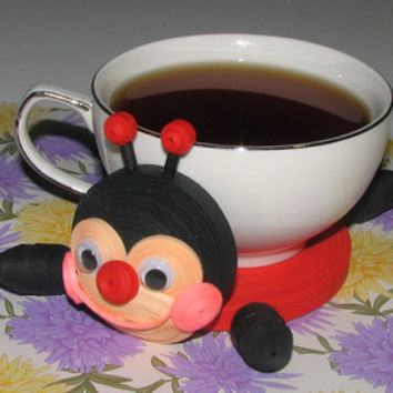 Coasters for drinks Cute ladybug Stand for the cup Cup Stands Cup pad Personalized coasters Stand cup Cup coaster Quilling art