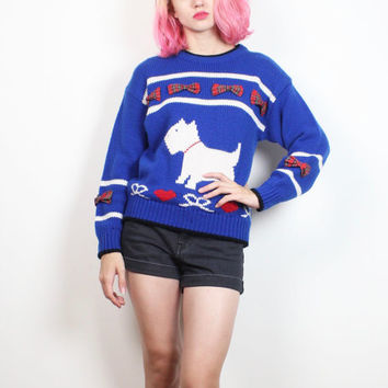Vintage 1980s Sweater Cobalt Blue Red White Black SCOTTY Dog Knit Jumper 80s Kawaii New Wave Chunky Knit Preppy Bow Heart Top S M Medium