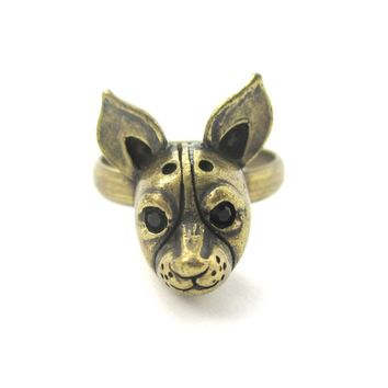 Adjustable Puppy Head Shaped Animal Ring in Brass | Gifts for Dog Lovers