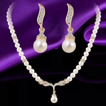 Fine Pearls Crystal Pendant Necklace Drop Earring Set Wedding Charm Dangle Earrings Bridal Women Mom Fashion Rhinestone Delicate