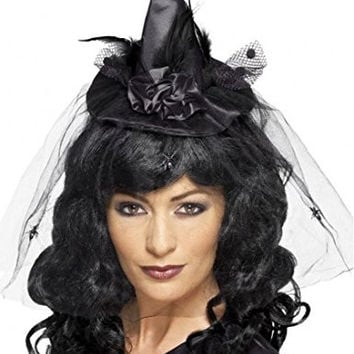 Smiffy's Women's Witch Hat Mini Headband On Display Card, Black, One Size